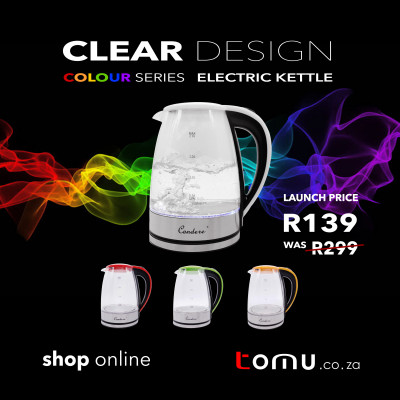 Condere - 2.0L Electric Glass Kettle (White/Red/Yellow/Green) - LX-3002