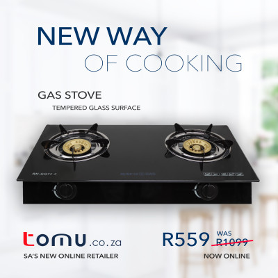 SAFY – Double-Burner Gas Stove (Tempered Glass Top) – RH-GQ72-2